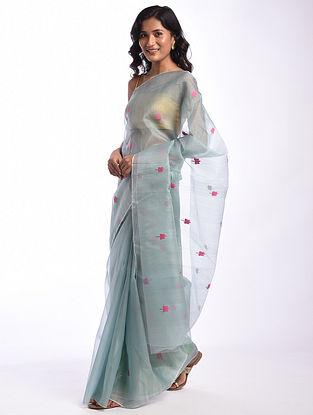 Blue Handwoven  Chanderi Cotton Silk Saree