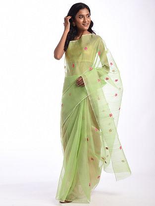 Green Handwoven  Chanderi Cotton Silk Saree