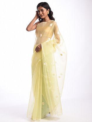Yellow Handwoven  Chanderi Cotton Silk Saree