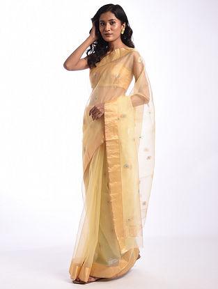 Gold Handwoven  Chanderi Cotton Silk Saree