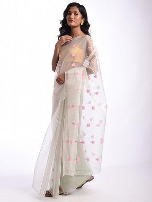 White Handwoven  Chanderi Cotton Silk Saree