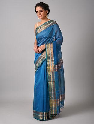 Blue Handwoven  Maheshwari Silk  Saree