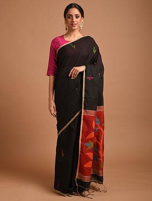 Black Handwoven Jamdani  Cotton Silk Saree