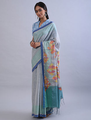 Blue Jamdani Handwoven Khadi Silk Saree