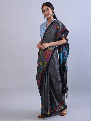 Grey Jamdani Handwoven Khadi Linen Saree