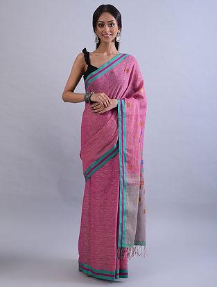 Pink Jamdani Handwoven Khadi Linen Saree