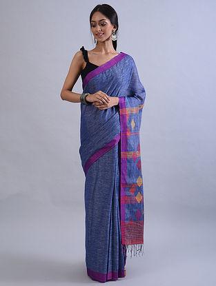 Blue Jamdani Handwoven Khadi Linen Saree