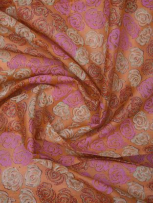 Orange Handblock Printed Chanderi Yardage