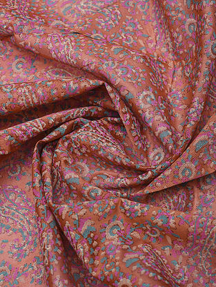 Pink Handblock Printed Chanderi Yardage