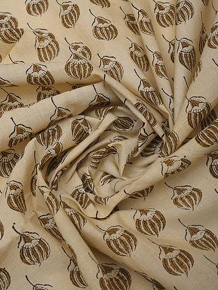 Beige Handblock Printed Cotton Yardage