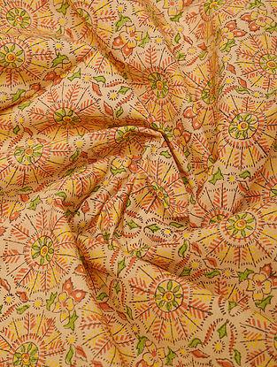 Orange Handblock Printed Cotton Yardage