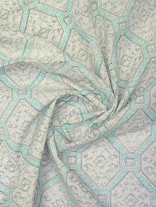 White Handblock Printed Cotton Yardage