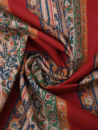 Red Handblock Printed Cotton Yardage