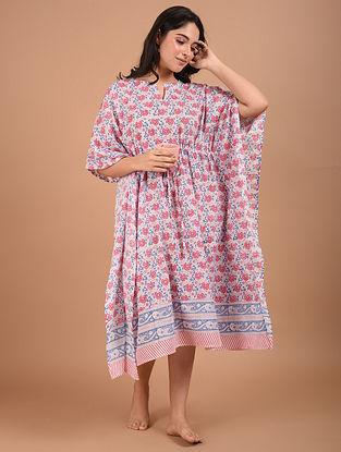 Pink and Blue Block Printed Cotton Kaftan