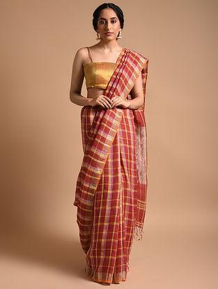 Red Handwoven Linen Saree