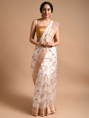 White  Handwoven Chanderi Silk Saree