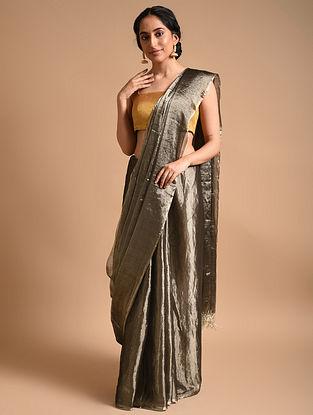 Grey Metallic Handwoven Linen Saree