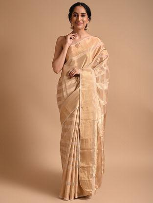 Gold Handwoven Chanderi  Saree
