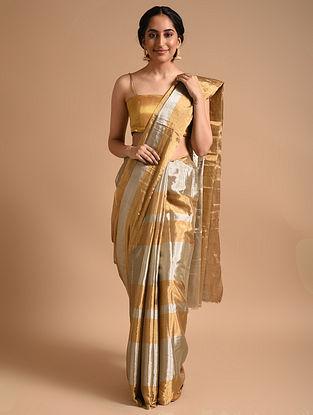 Silver Gold Metallic Handwoven Tissue Saree