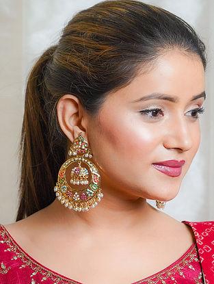 Multicolored Gold Tone Jadau Chandbali Earrings