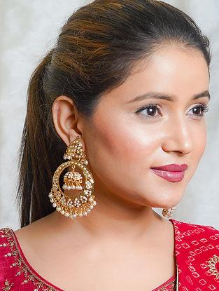 White Gold Tone Jadau Chandbali Earrings