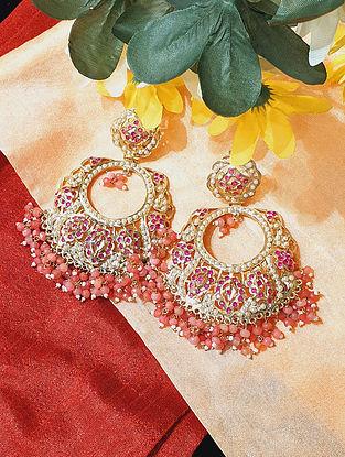 Pink Red Gold Tone Jadau Chandbali Earrings