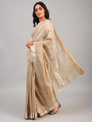 Beige Handwoven Chanderi Silk Cotton Saree