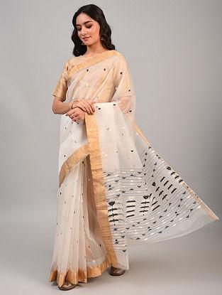 White Handwoven Chanderi Silk Cotton Saree