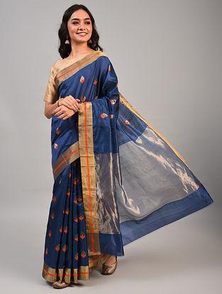 Blue Handwoven Chanderi Pattu Silk  Saree