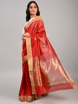 Red Handwoven Chanderi Pattu Silk Saree