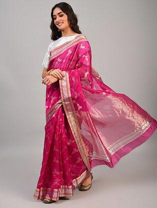 Pink Handwoven Chanderi Pattu Silk  Saree