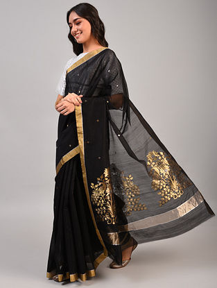 Black Handwoven Chanderi Silk Cotton Saree
