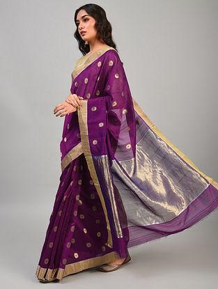 Purple Handwoven Chanderi Silk Cotton Saree