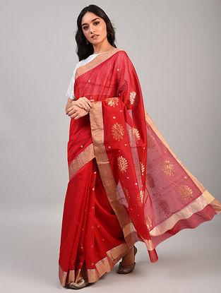 Red Handwoven Chanderi Silk Cotton Saree