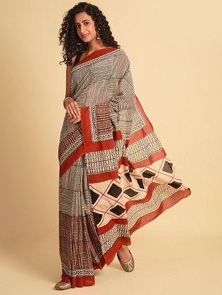 White Natural Dye Bagru Printed Cotton Saree