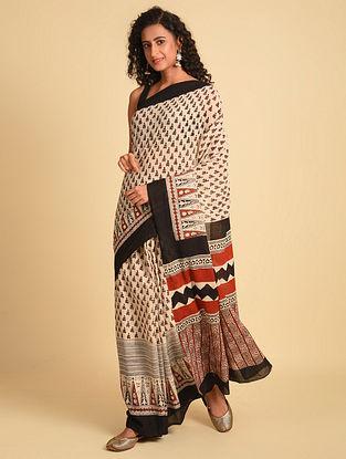 White  Natural Dye Bagh Printed Cotton Saree