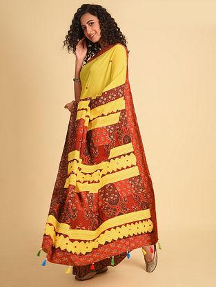 Yellow Ajrakh Cotton Saree With Gudri Embroidery