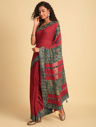 Red Ajrakh Cotton Saree With Gudri Embroidery