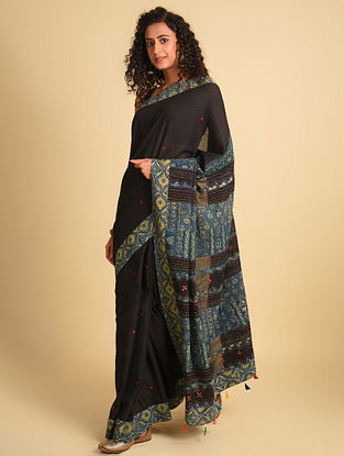Blue Ajrakh Cotton Saree With Gudri Embroidery