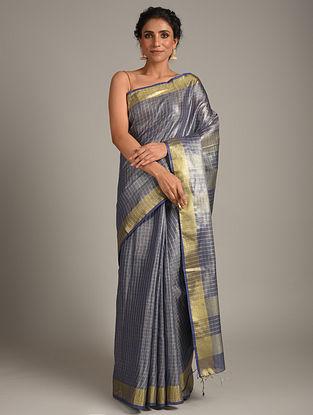 Blue Handwoven Tissue Linen  Saree