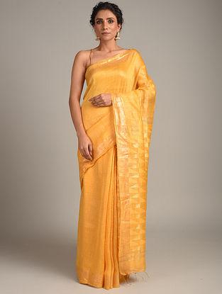 Yellow Hand Zari Cutwork Silk Linen Saree