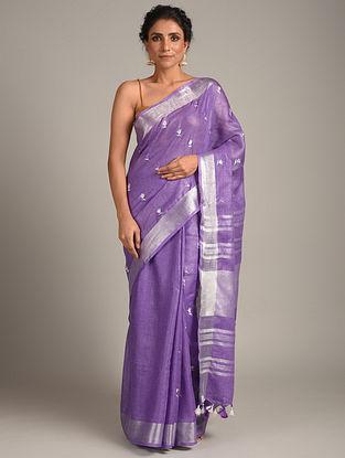 Purple Embroidered Linen  Saree