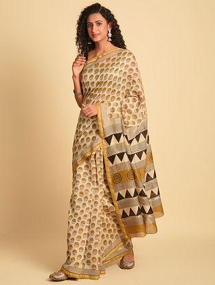 Beige Natural Dye Bagru Printed Silk Cotton Saree
