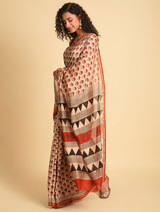 Pink Natural Dye Bagru Printed Silk Cotton Saree