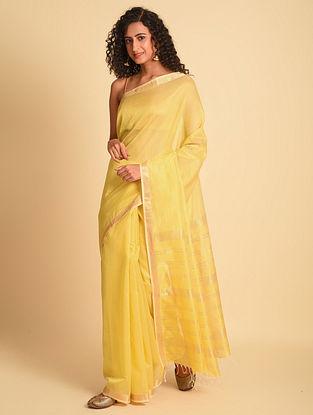 Yellow Handloom Maheshwari Silk Cotton Saree