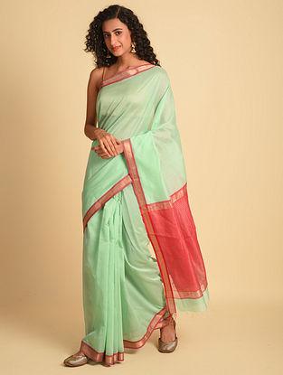 Orange Handloom Maheshwari Silk Cotton Saree