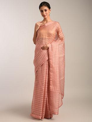 Pink Handwoven Organza Saree