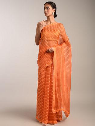 Orange Handwoven Organza Saree