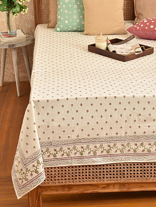 Multicolored Hand Block Printed Double Bedsheet (L - 107in, W - 90in)
