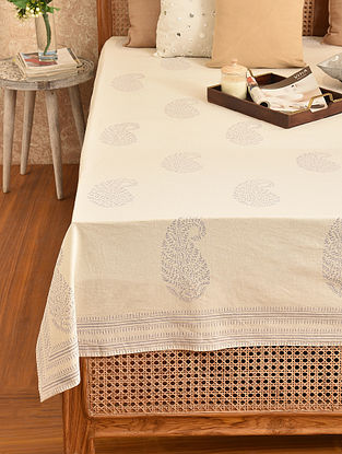 Multicolored Hand Block Printed Double Bedsheet (L - 108in, W - 90in)